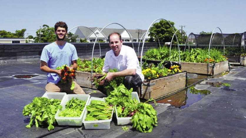 two man pose with homegrown vegetables on rooftop garden