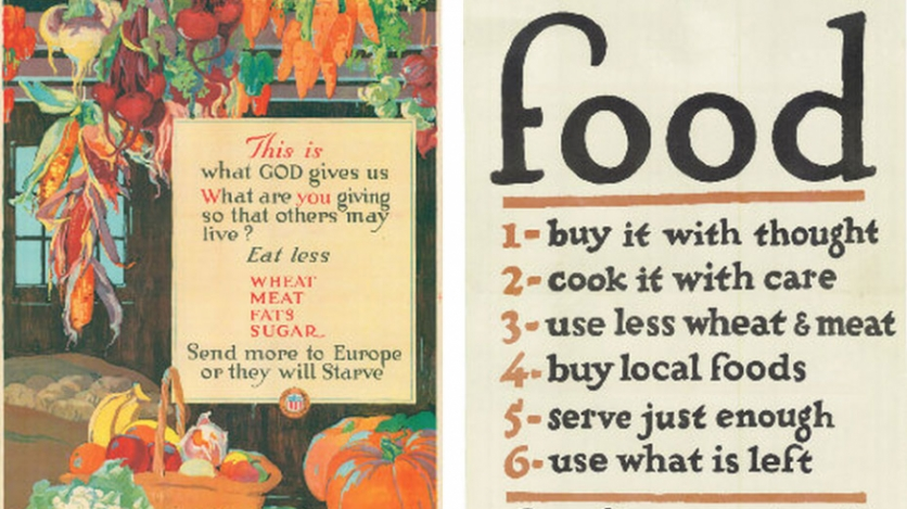 Vintage poster of food rules from the United States Food Administration