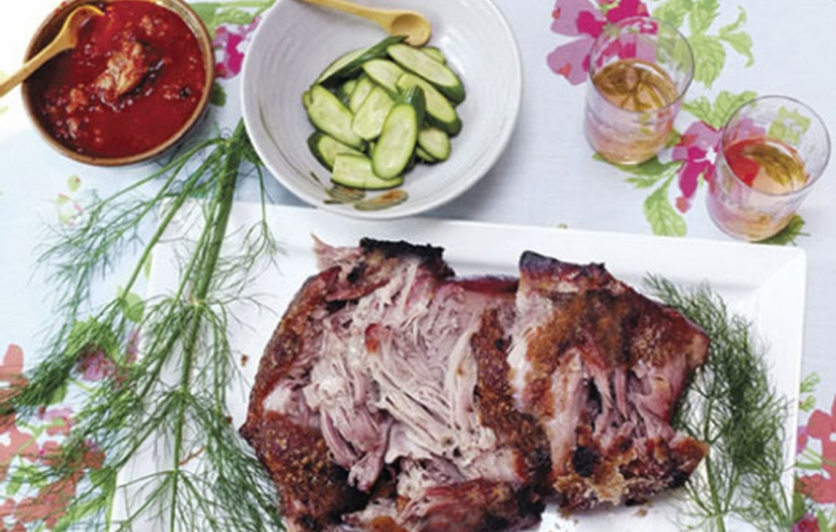Bo ssäm with slow-roasted pork, kimchi, ginger scallion salad, quick pickled cucumber and spicy hot pepper paste