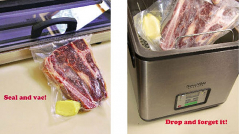 Sous vide sealing process of red meat