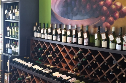 The Brown Jug has a carefully curated selection of wine to enjoy with a cheese plate or sandwich on their outdoor patio.