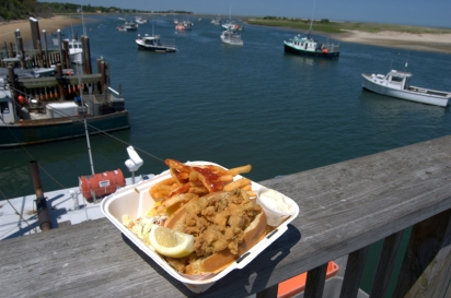 The whole bellied fried clam roll at Chatham Fish Pier Market comes with a great view.