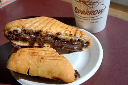 Grilled chocolate sandwich at Hot Chocolate Sparrow in Orleans, MA