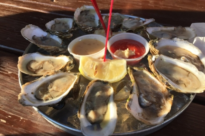 Local Onset oysters on the half shell at Quahog Republic.