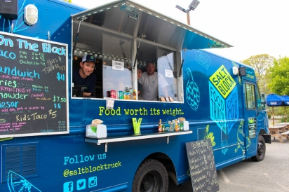 "The Salt Block Food Truck, located on Route 28 in the overflow parking lot across from Saquatucket Harbor in Harwich Port, serves up a food experience that is ""worth its weight""."