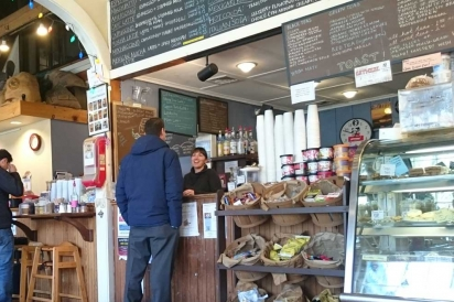 Coffee Obsession, in the Queen's Buyway historic plaza in Falmouth, MA