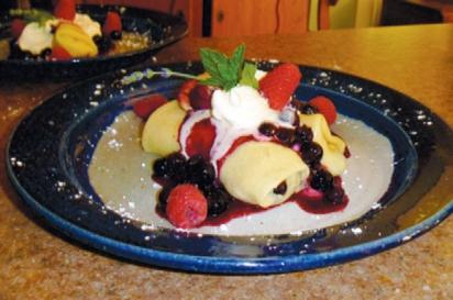 blueberry/raspberry crepes at Bluefish B&B