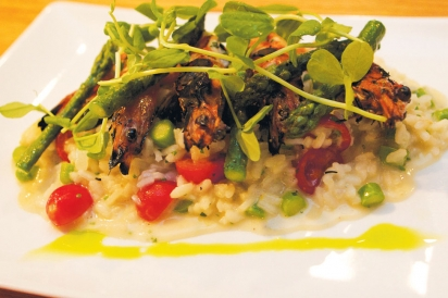 Grilled Shrimp on Lemon Asparagus Risotto