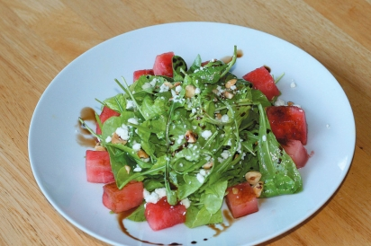 Watermelon, Arugula, Feta and Toasted Hazelnut Salad