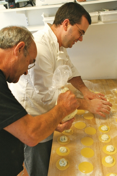 Angelo and Diego Gerardi work side by side making fresh raviolis at Gerardi's Cafe