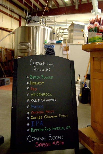 Cape Cod Beer's pour menu in Barnstable, MA